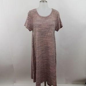 Lularoe Dress M Carly Pink Gray Heather Pocket A-l